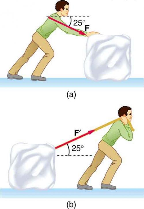 <b>Figure 5.23</b> A person sliding a block of ice on a frozen lake. (a) by pushing, (b) by pulling on a rope inclined above the horizontal.