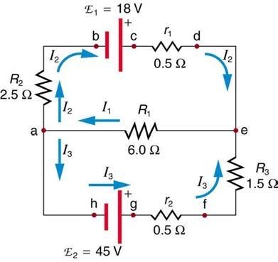 <b>Figure 21.56</b> A circuit with EMF's and resistors.