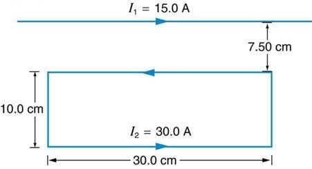 <b>Figure 22.57</b> A current carrying wire above a current carrying rectangle.