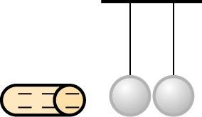 <b>Figure 18.61</b> A charged rod and two hanging metal balls.