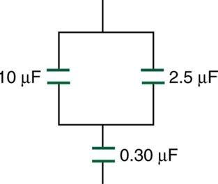 <b>Figure 19.39</b> A combination of series and parallel connections of capacitors.