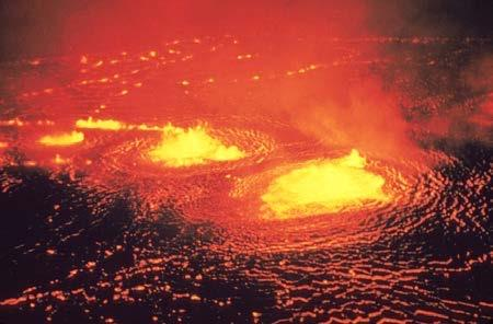 <b>Figure 14.34</b> Lava flow on Kilauea volcano in Hawaii. (credit: J. P. Eaton, U.S. Geological Survey)
