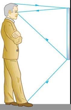 <b>Figure 25.49</b> A full-length mirror is one in which you can see all of yourself. It need not be as big as you, and its size is independent of your distance from it.