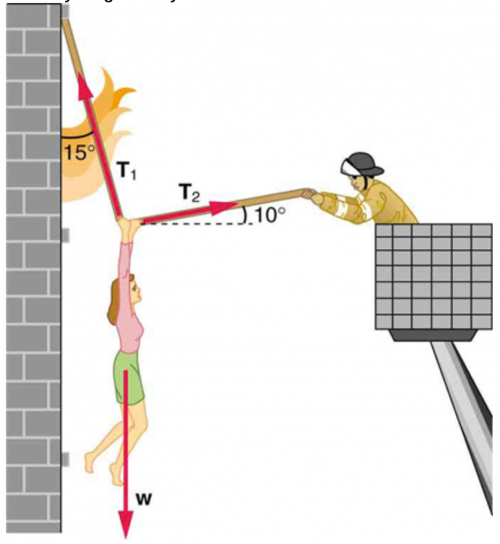 <b>Figure 4.40</b> The force T_2 need to hold steady the person being rescued from the fire is less than her weight and less than the force T_1 in the other rope, since the more vertical rope supports a greater part of her weight (a vertical force).